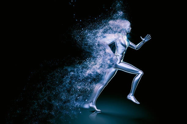 running 3d man shattered into dust - human body 3d stock photos and pictures