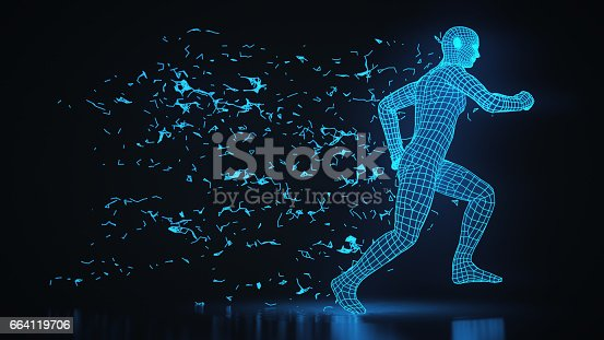 istock Running 3D Wireframe Man Technological Progress 664119706