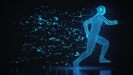 Running 3d wireframe man in an abstract environment.
