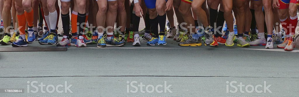 Running a marathon stock photo