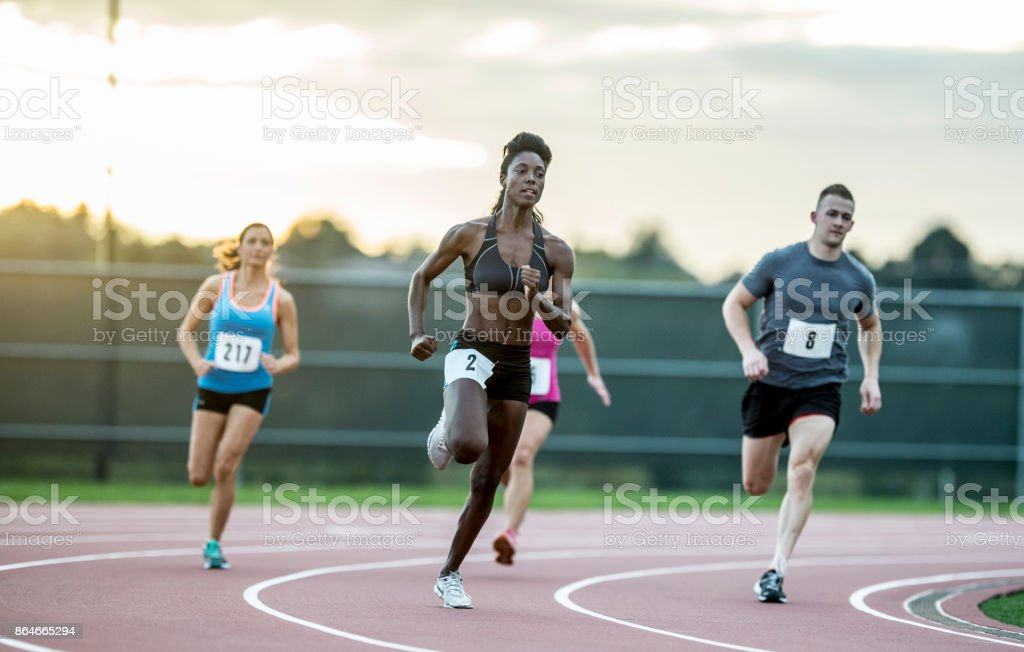 Running A Race stock photo