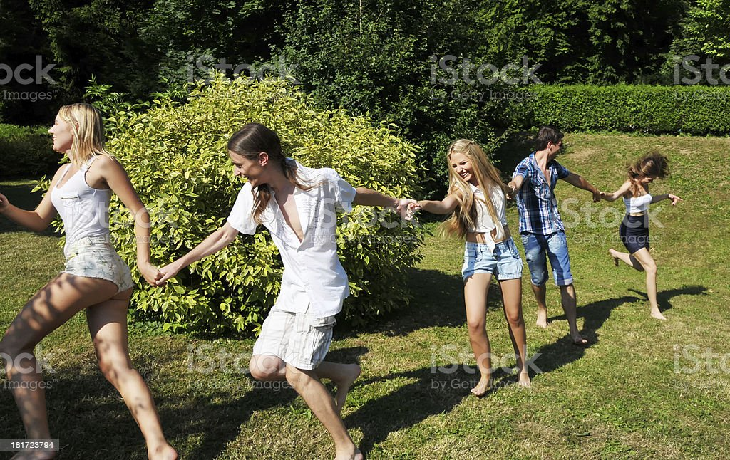 Running around the bush royalty-free stock photo