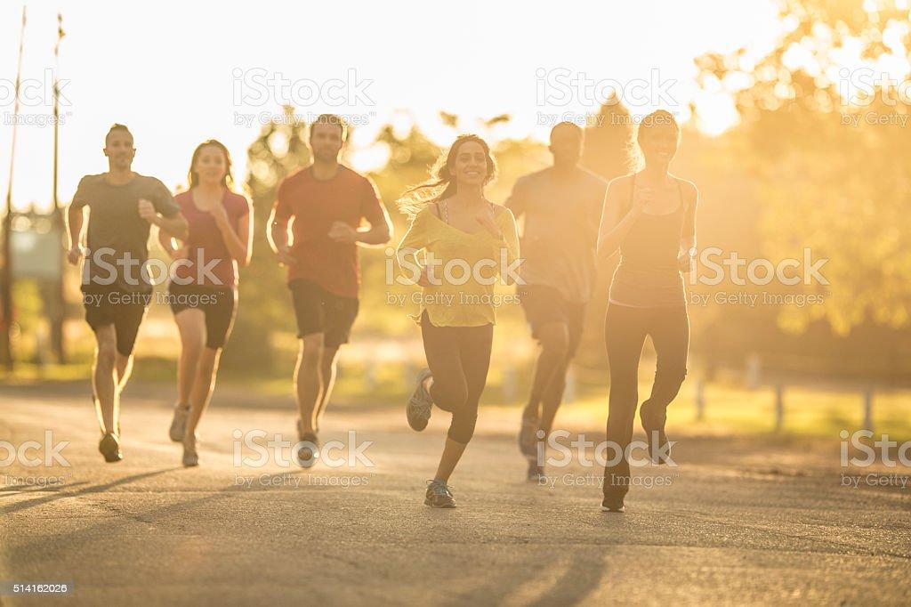 Running at Dusk stock photo