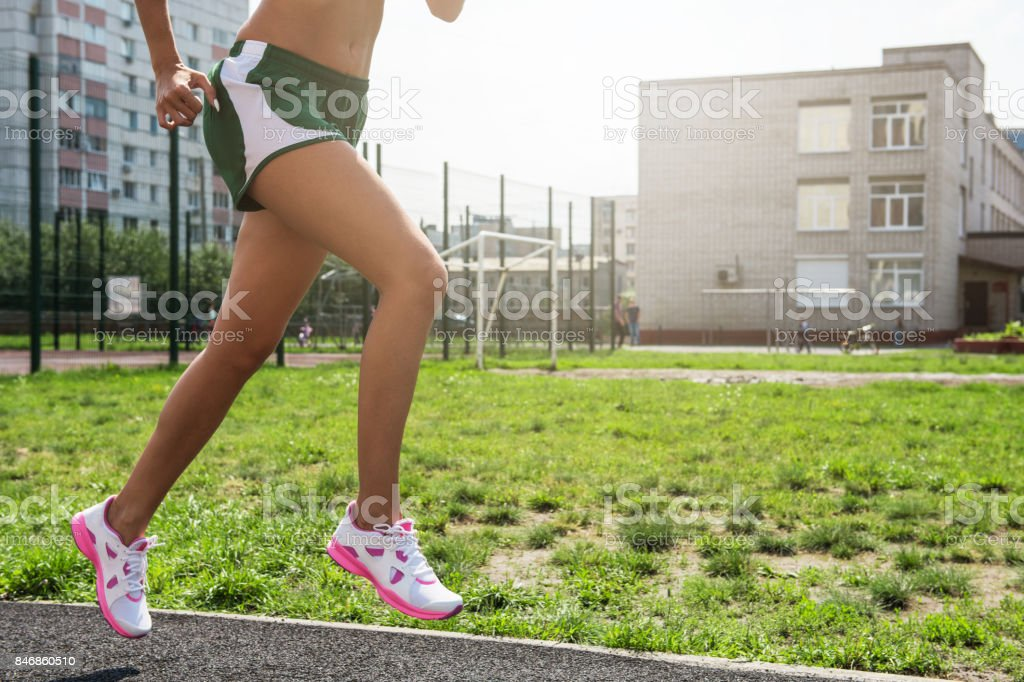 running at outdoor stock photo