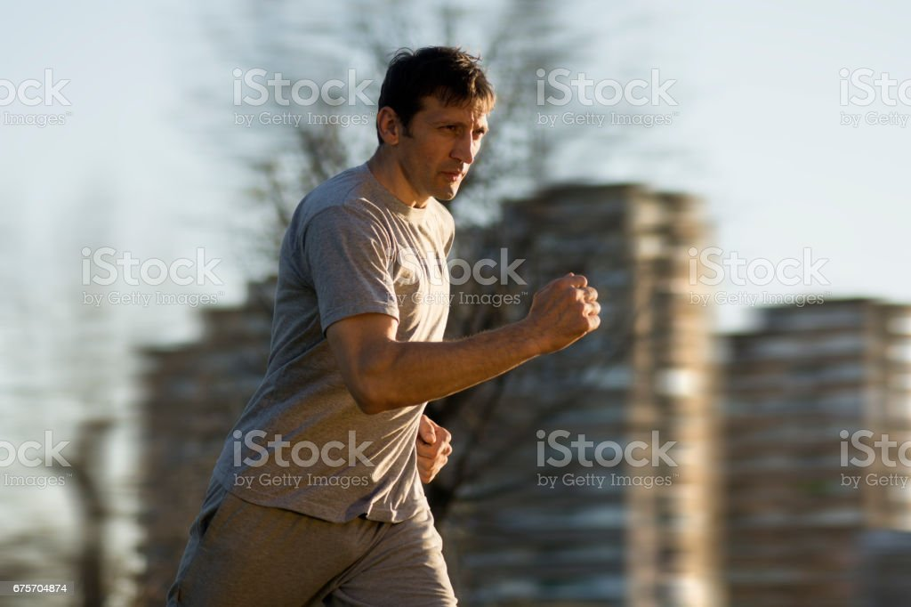 running at the city royalty-free stock photo