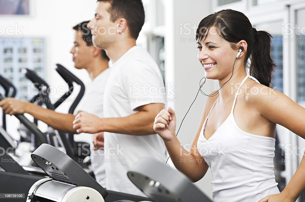 Running at the fitness club stock photo