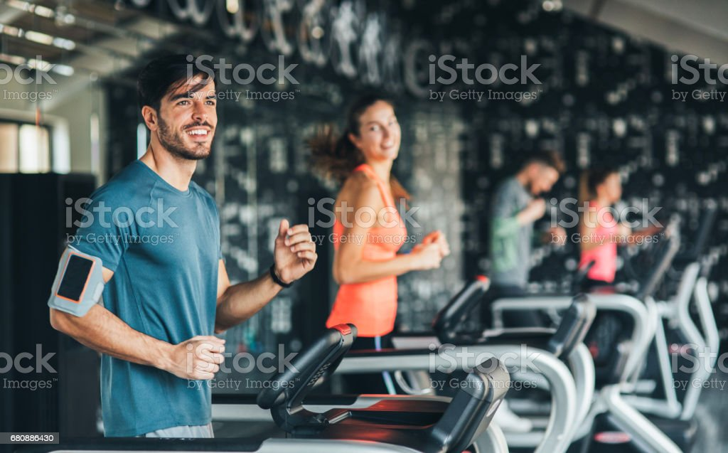 Running at the gym royalty-free stock photo