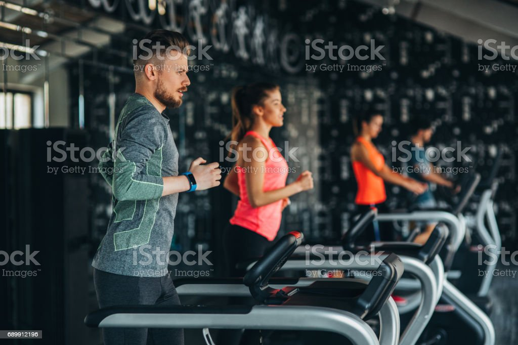 Running at the gym stock photo