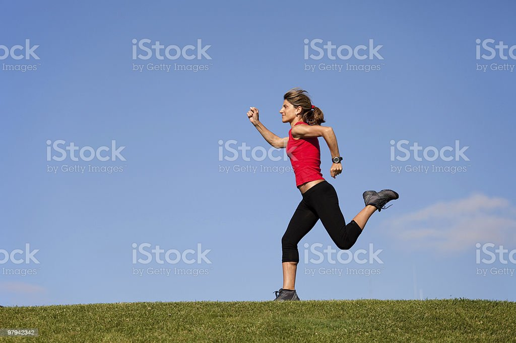 Running at the hill royalty-free stock photo
