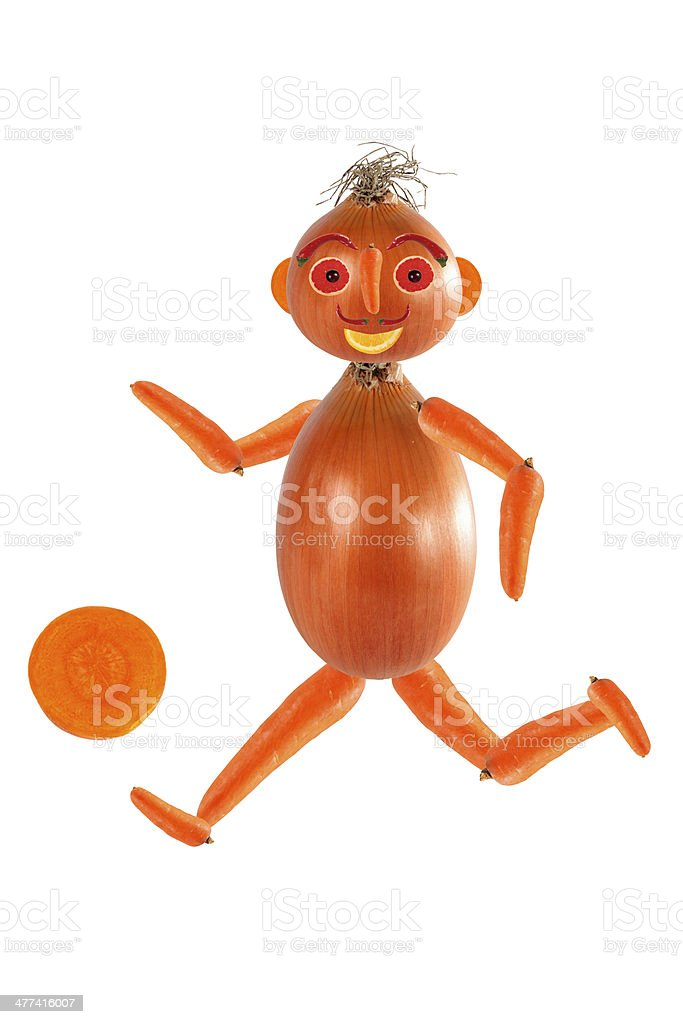 Running athlete, made from fruits and vegetables stock photo
