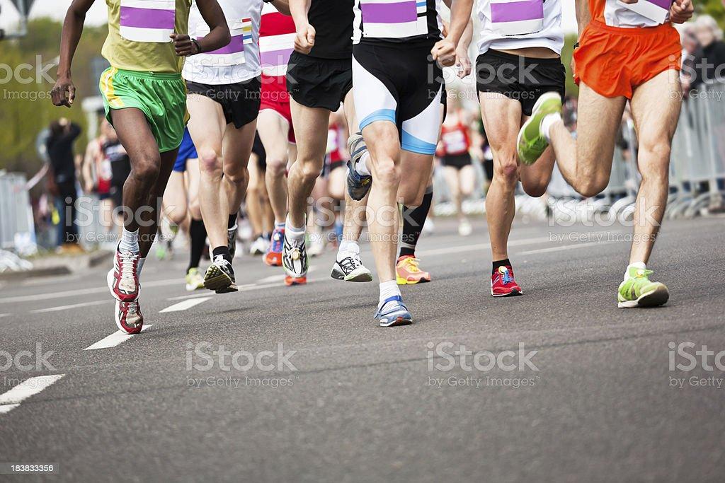 Running Athletes at a Marathon royalty-free stock photo
