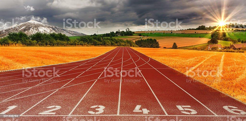 Running Athletics track stock photo