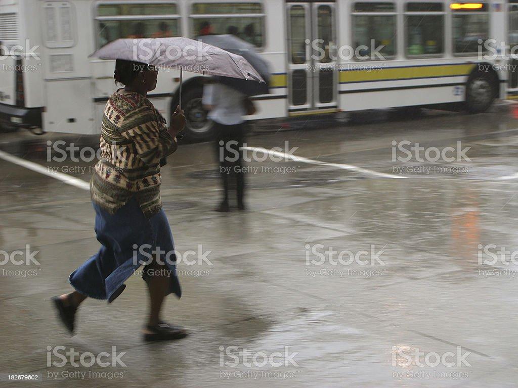 Running away from Rain stock photo