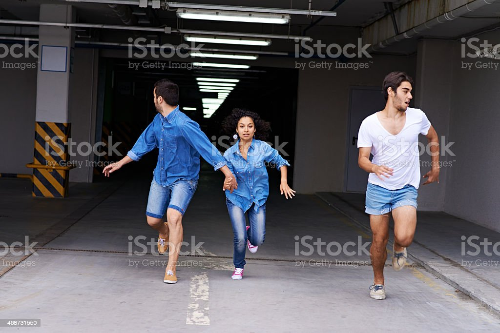 Running away stock photo