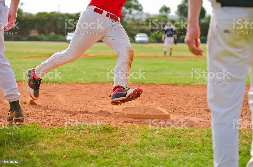Running bases stock photo