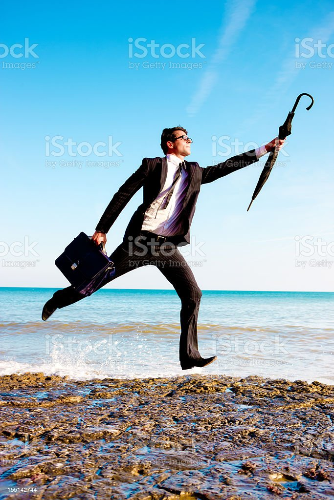 Running businessman royalty-free stock photo