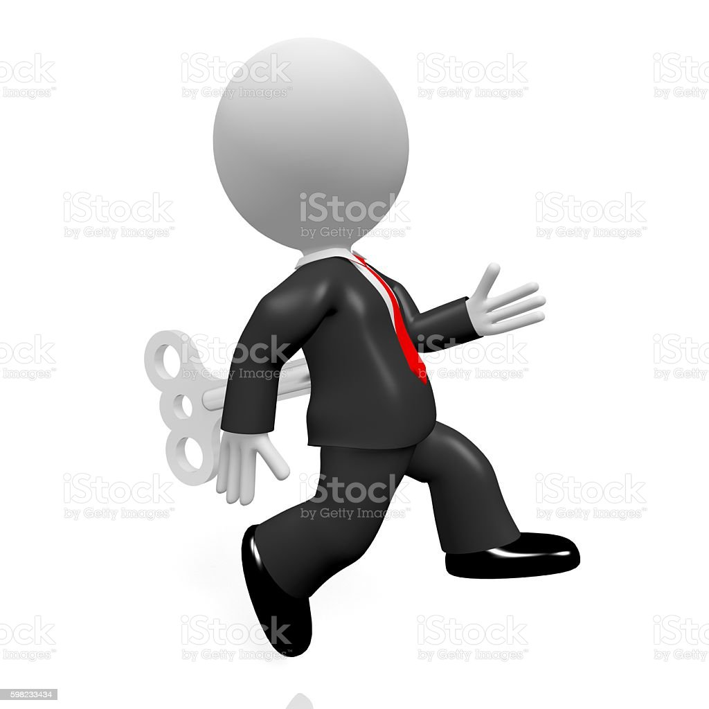 3D running businessman foto royalty-free