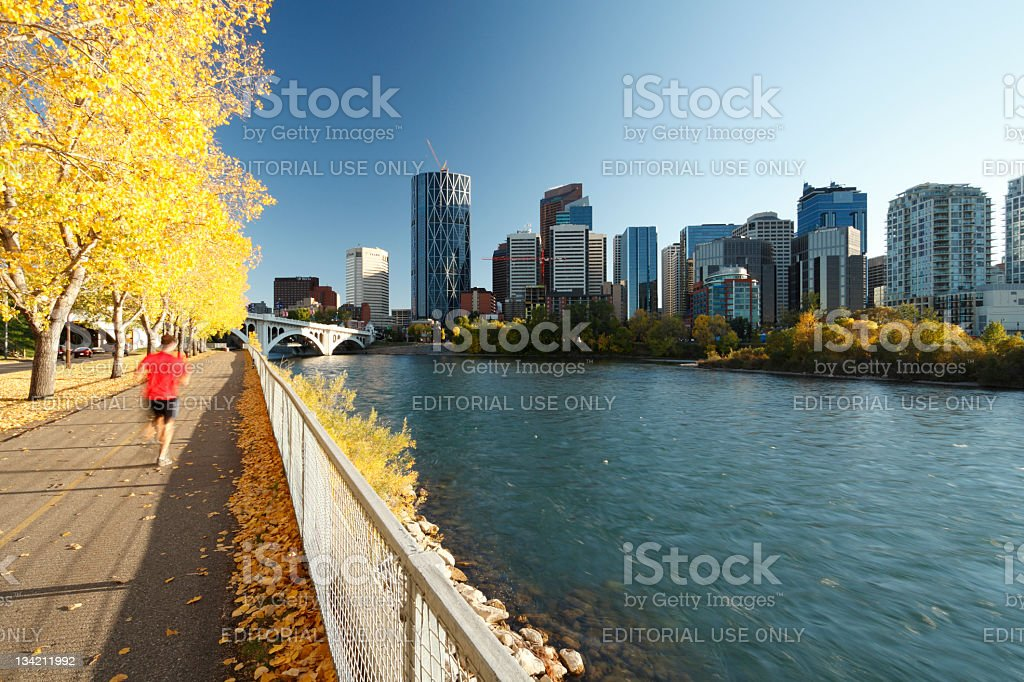 Running by The Bow River royalty-free stock photo