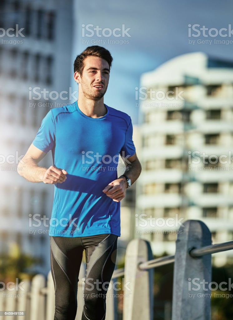 Running can be a time to zen out stock photo
