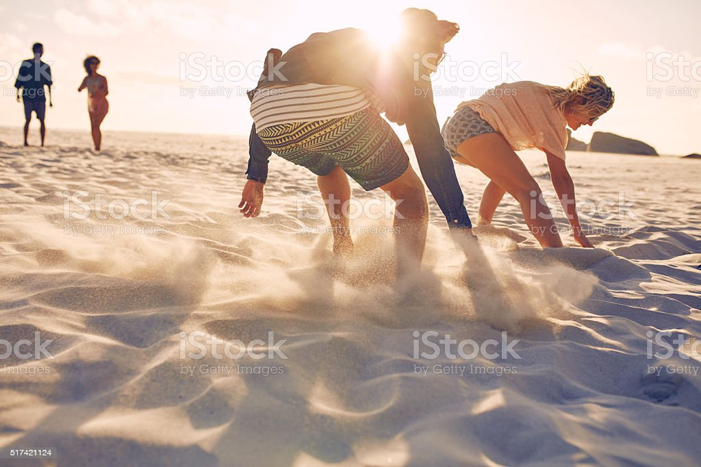 Running competition on the beach stock photo