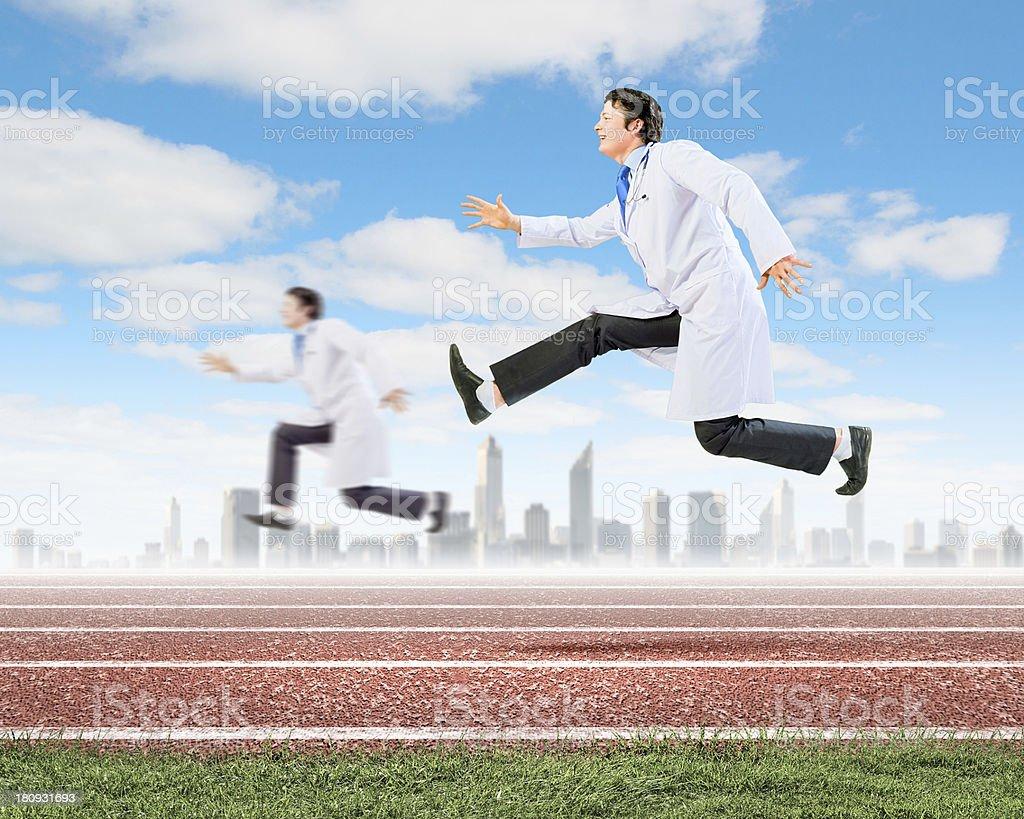 Running doctors royalty-free stock photo