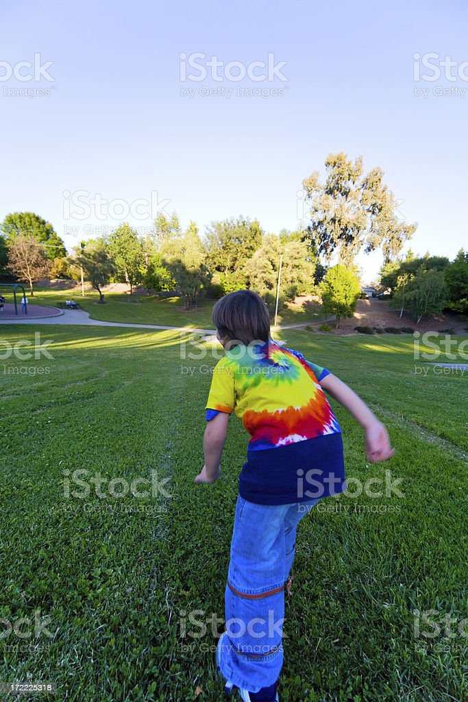 Running Down The Hill royalty-free stock photo