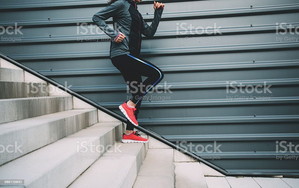 Running Down The Stairs stock photo