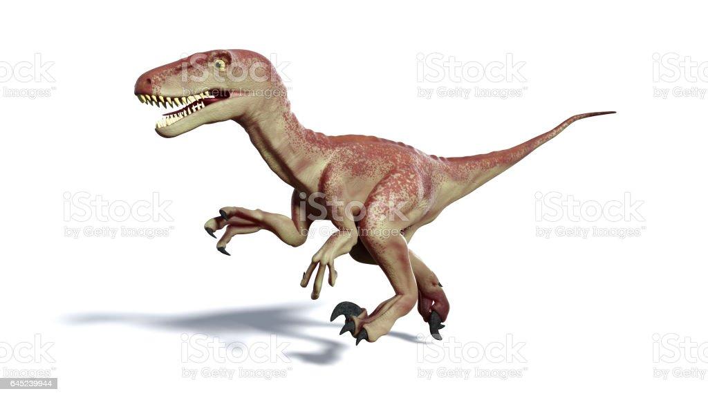 running Dromaeosaur dinosaur stock photo