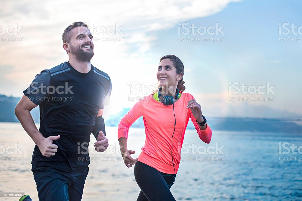 Running early in the morning stock photo