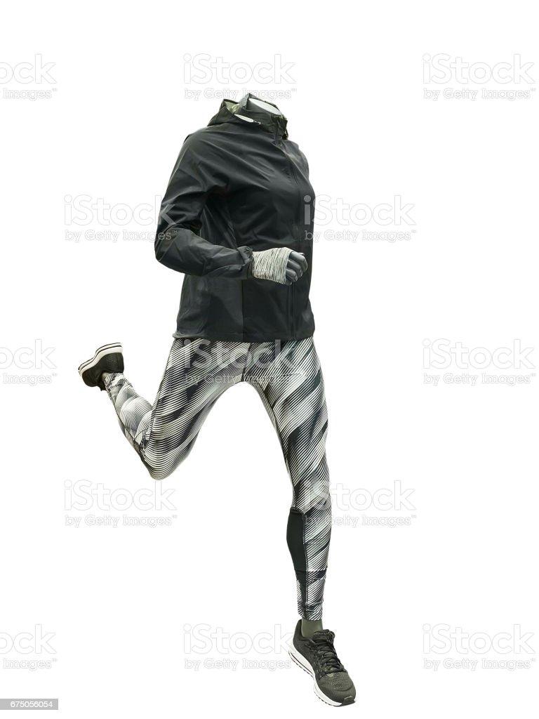 Running female mannequin. stock photo