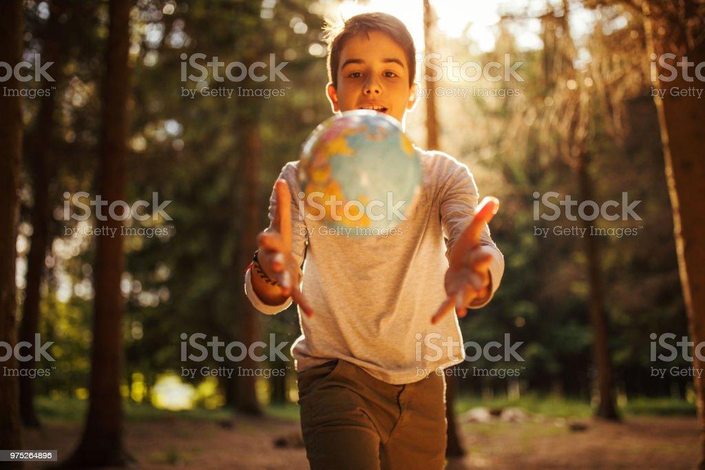 Running for the globe stock photo