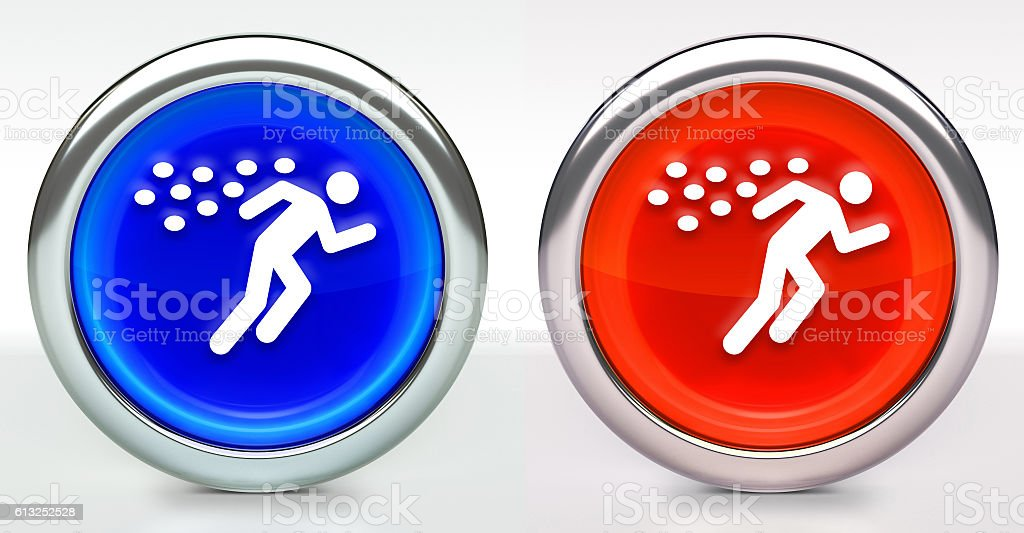 Running From Bees Icon on Button with Metallic Rim stock photo