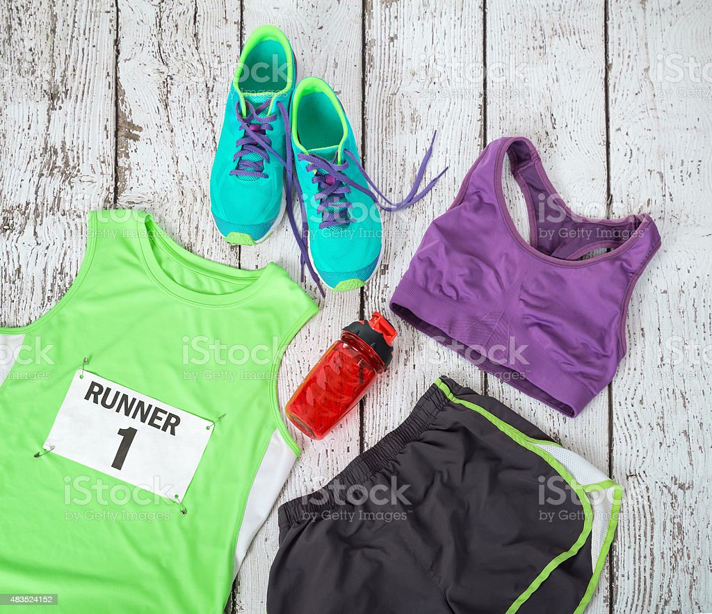 Running gear laid out ready for race day stock photo