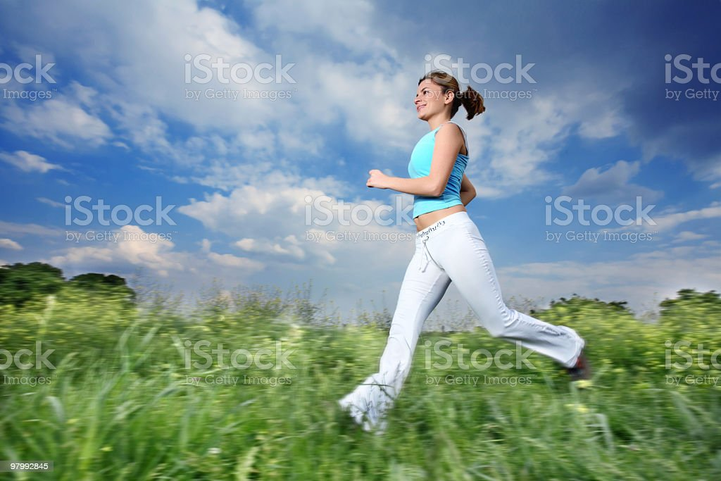 Running girl. royalty-free stock photo
