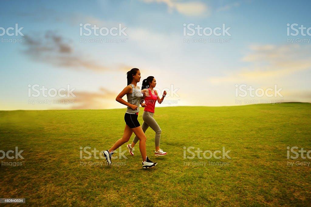 Running girls stock photo