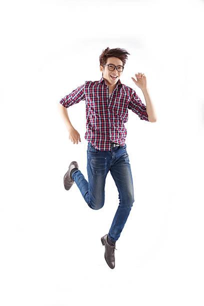 running männer - druck jeans stock-fotos und bilder