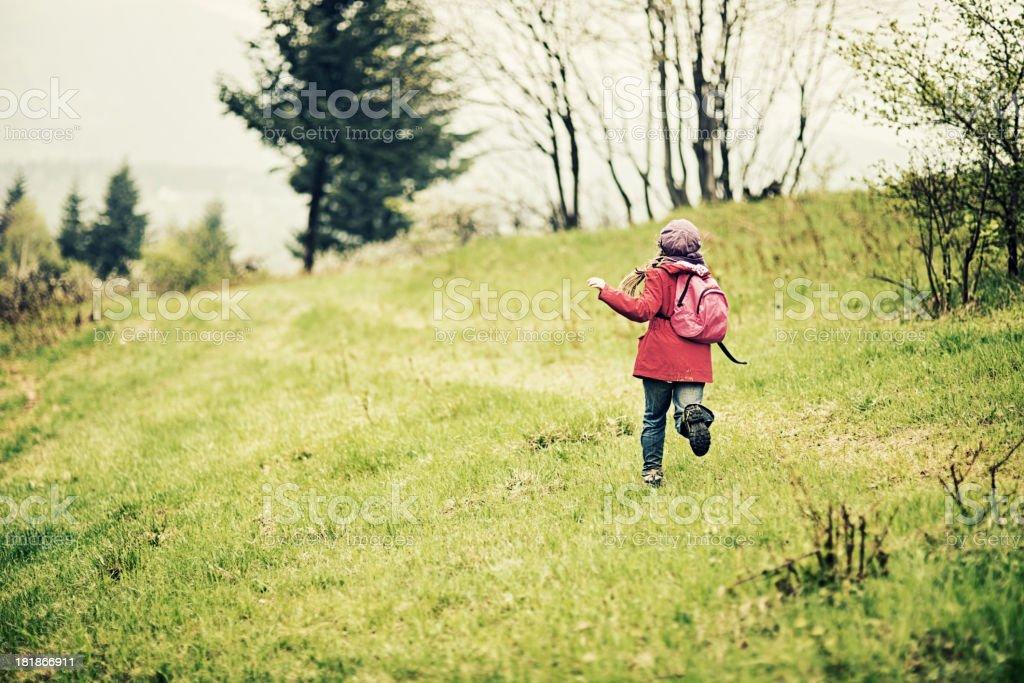 Running hiker stock photo