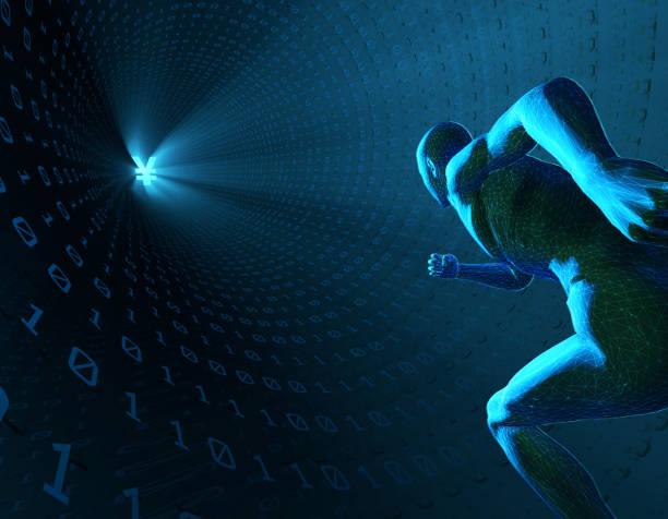 humantechnologie, die zukunft der welt, in der digitalen tunnel laufen im menschlichen, rmb symbol ausgeführt - zukunftswünsche stock-fotos und bilder