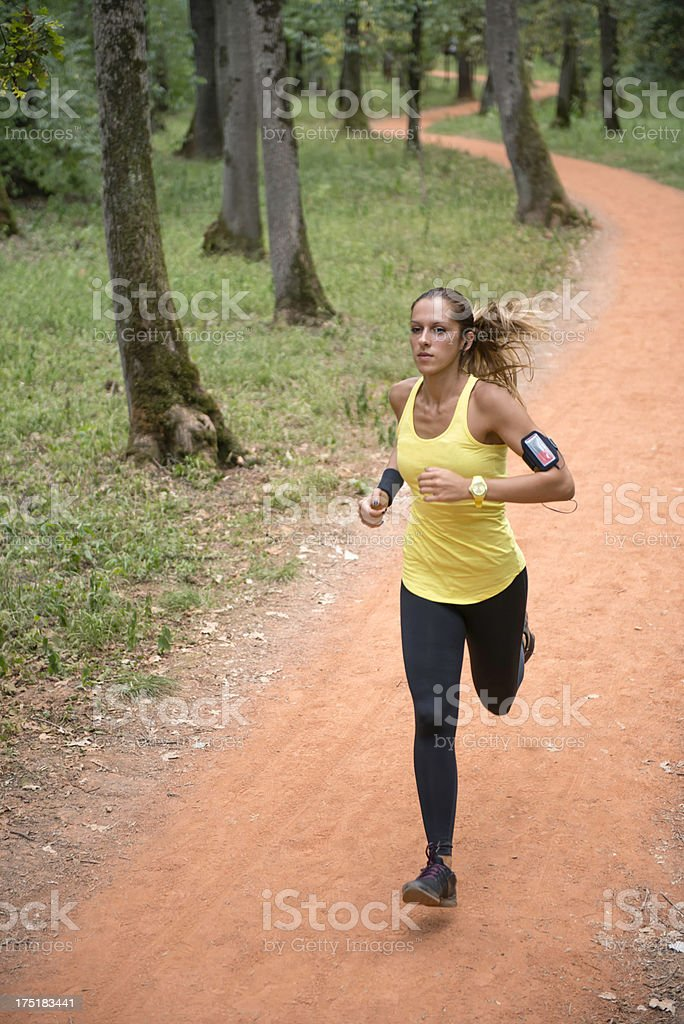 Running in forest royalty-free stock photo