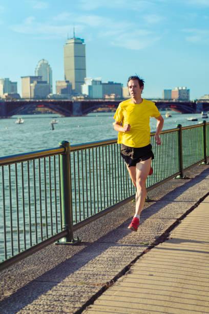 Running in Front of Boston's Skyline, USA stock photo