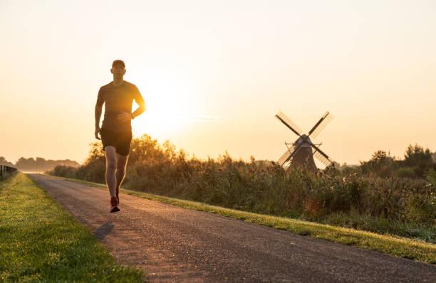 Running in Holland stock photo
