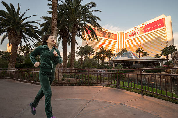 Running in Las Vegas stock photo