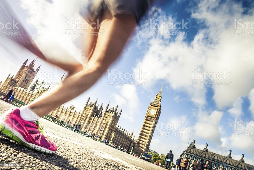 Running in London downtown royalty-free stock photo