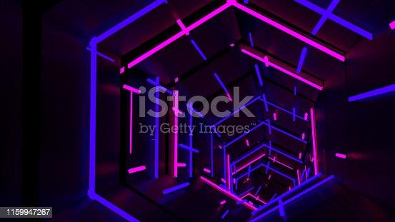 istock Running In Neon Light Hexagon Tunnel 03 1159947267