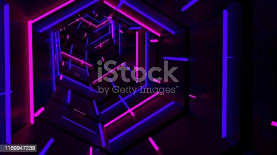 istock Running In Neon Light Hexagon Tunnel 10 1159947239