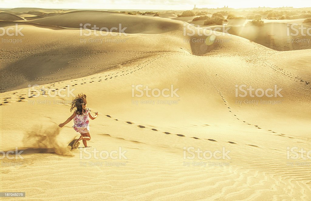 Running in the dunes of Maspalomas - Gran Canaria stock photo