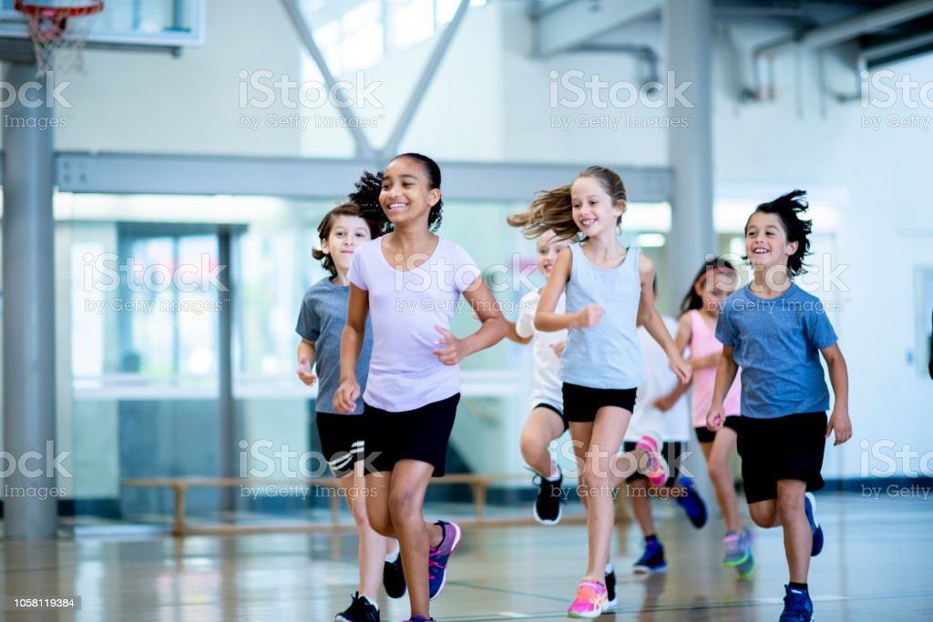 Running in the gym stock photo