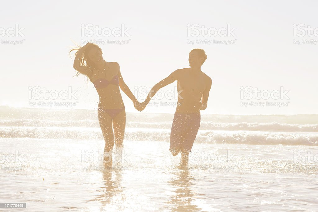Running in the ocean royalty-free stock photo