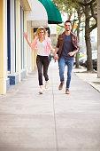Running in the sidewalk