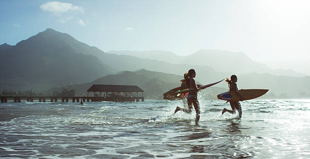 Running into the Ocean stock photo